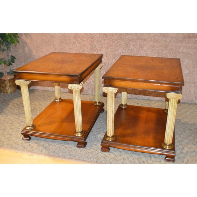 Pair of Vintage Neo-Classic Style Side Tables with Flame Grain Tops and Column Detail. The Columns have a white & gold...