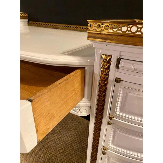 Dove Gray Louis XVI Style Ladies Vanity / Writing Desk in Dove Gray Lacquer For Sale - Image 8 of 13