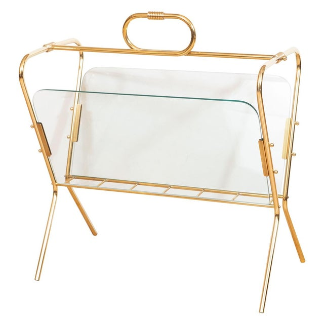 1960s 1960s Glass and Brass Curvilinear Magazine Rack For Sale - Image 5 of 5