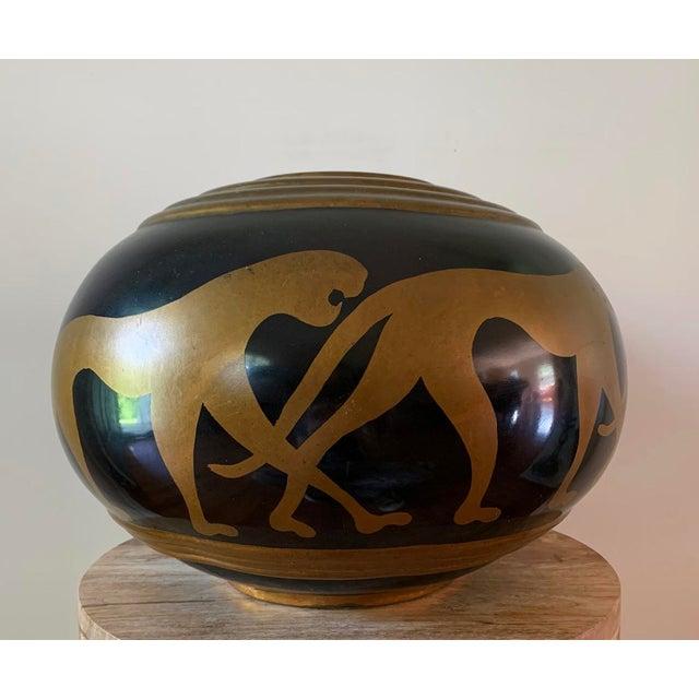 Vintage Panther Motif Pottery Vase For Sale - Image 9 of 9