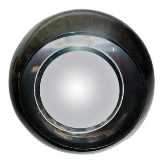 Large Round Parchment Convex Mirror For Sale