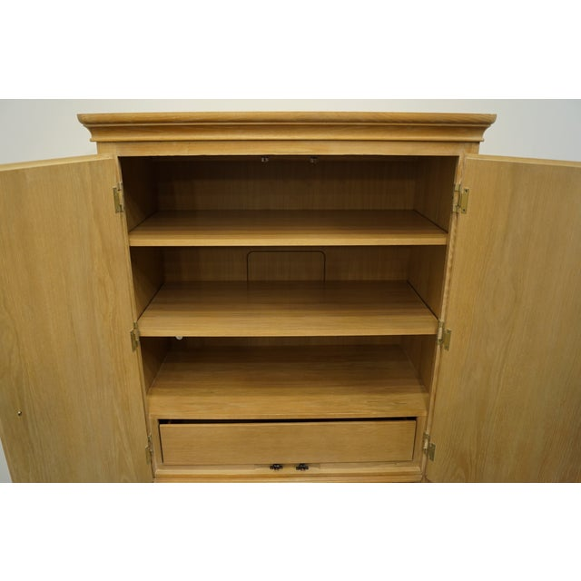 """Transitional Stanley Furniture Pickled Oak 42"""" Door Chest/Armoire For Sale - Image 3 of 13"""