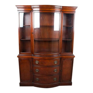 Late 20th Century Drexel Bow Front Mahogany China Cabinet For Sale