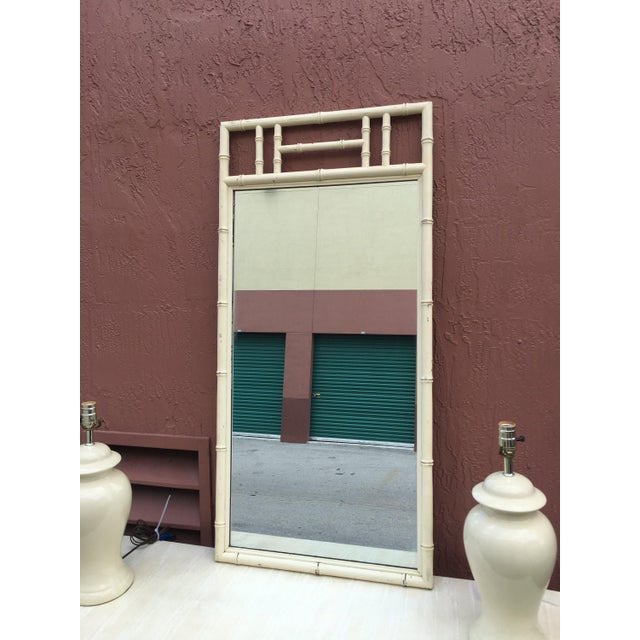 Cream Color Wood Faux Bamboo Mirror For Sale In Miami - Image 6 of 6