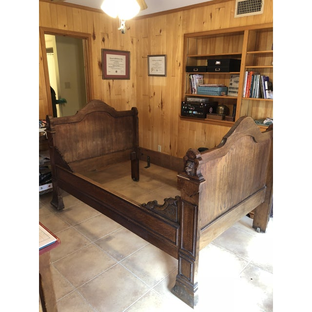 1800s Antique French Medieval Knights Heads Carved Daybed For Sale - Image 10 of 11