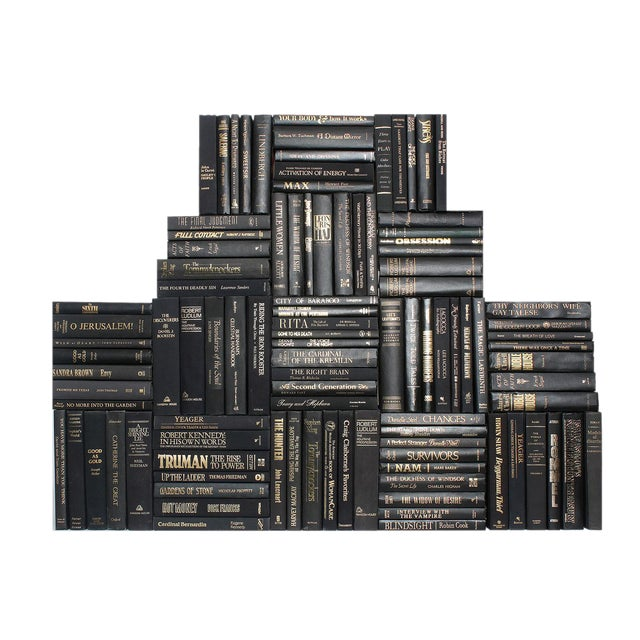 Black & Gold Book Collection - Set of 100 For Sale