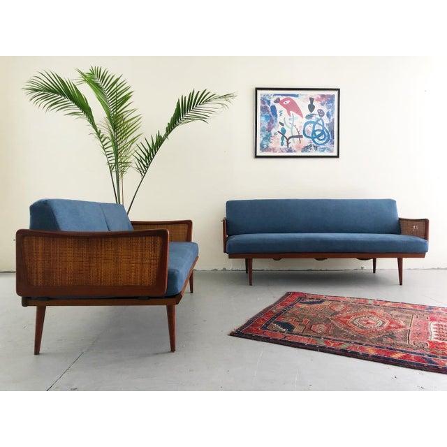 Mid Century Modern Teak & Cane Sofa Set By Peter Hvidt & Orla Mølgaard Nielsen, Made In Denmark Circa 1960's The set...