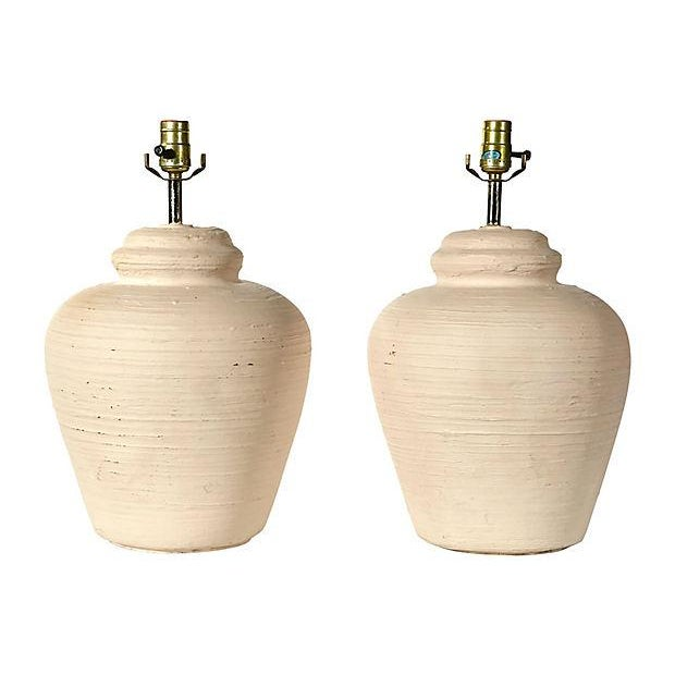 1970s White Textured Ceramic Lamps - A Pair For Sale In Boston - Image 6 of 6