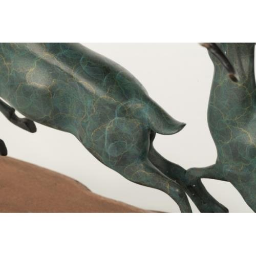 1970s Two Running Stag Reindeer Bronze Statue For Sale - Image 5 of 9