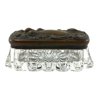 French Art Nouveau Glass Vanity Box For Sale