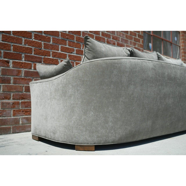Down Filled Silver Velvet Sculptural Sofa - Image 5 of 9