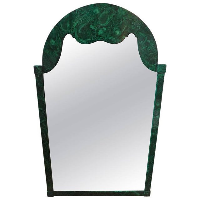 Glass 1960's Vintage Italian Faux Malachite Lacquered Mirror For Sale - Image 7 of 8