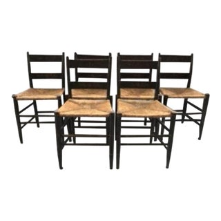 Antique 19th C. American Country Stencilled Slat Back Chairs - Set of 6 For Sale