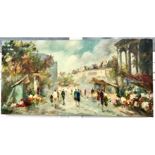 1940s Paris street scene presented without a frame. The scene depicts a lively street with flowers and houses in the...