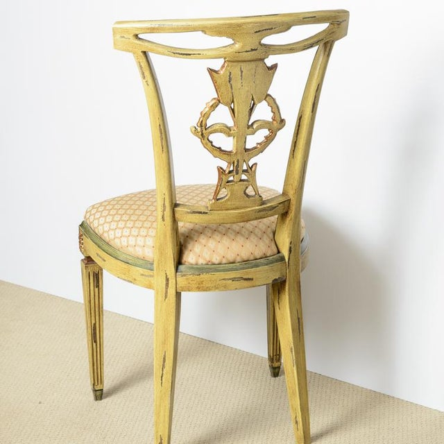 Italian Italian Louis XVI Style Painted & Gilt Chairs - Set of 4 For Sale - Image 3 of 13
