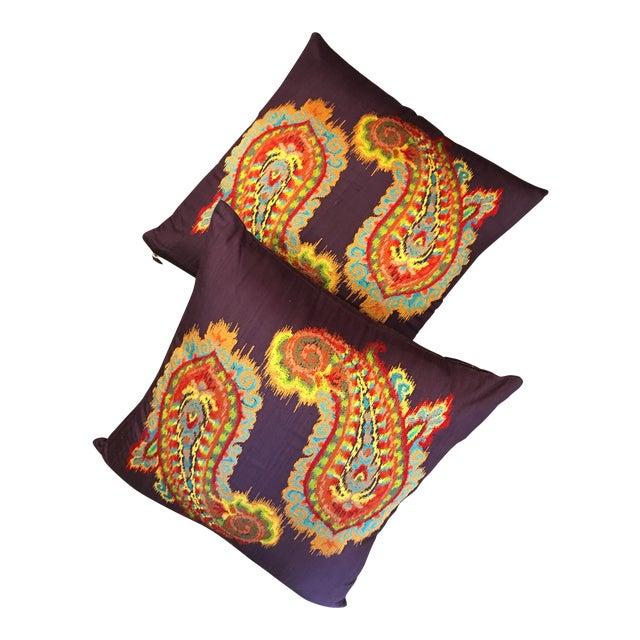 Silk Ikat Paisley Pillows-Pair For Sale
