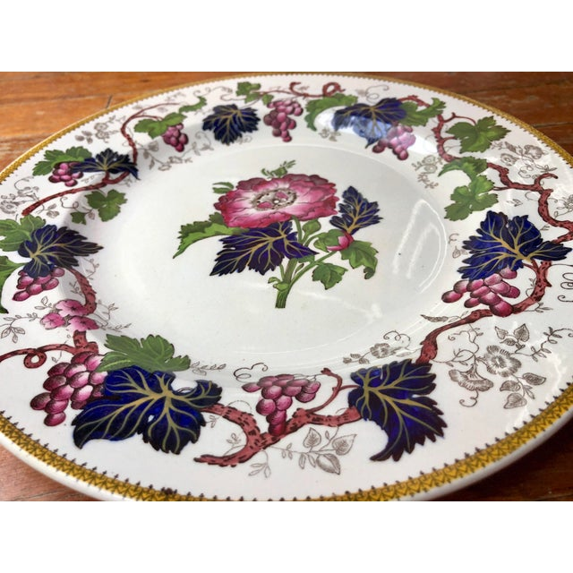 """English Traditional Antique Wedgwood Floral """"Vine"""" Plate For Sale - Image 3 of 9"""