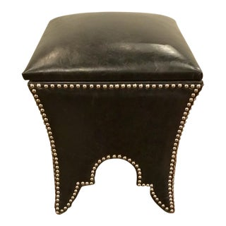 Black Leather Empire Storage Stool For Sale