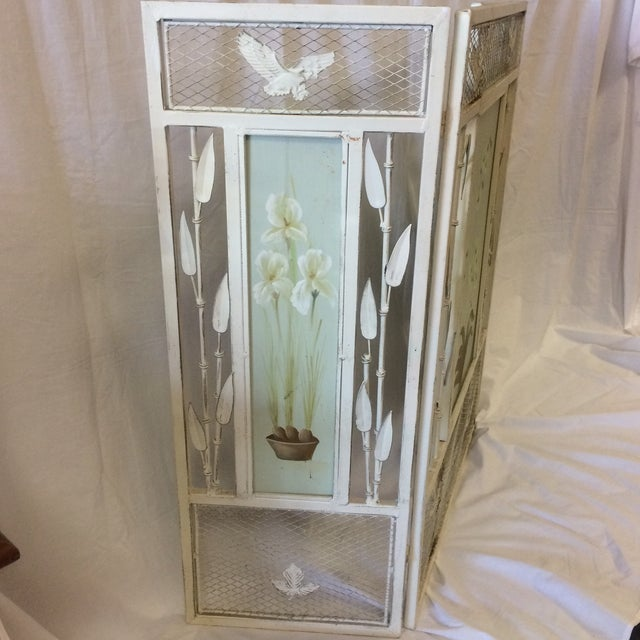 Vintage Shabby Chic Metal Hand Painted Fireplace Screen - Image 3 of 10