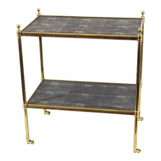 Maison Bagues Style Brass & Shagreen Bar Cart For Sale