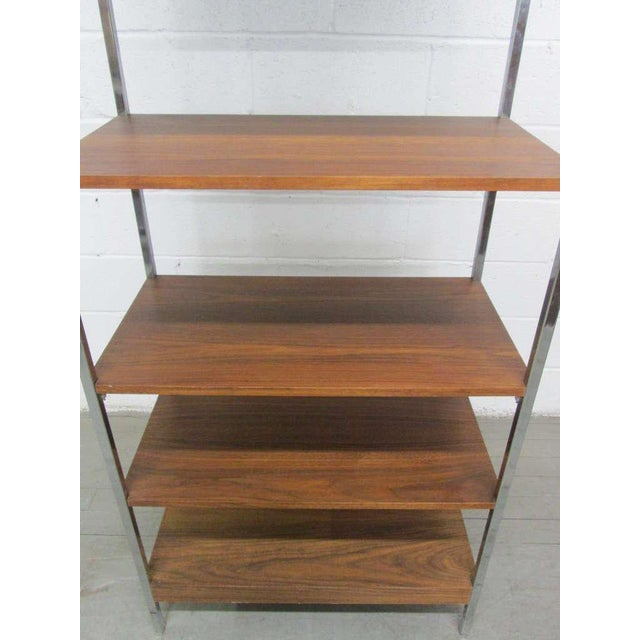 Mid-Century Modern 1960s Chrome & Walnut Etagere For Sale - Image 3 of 4