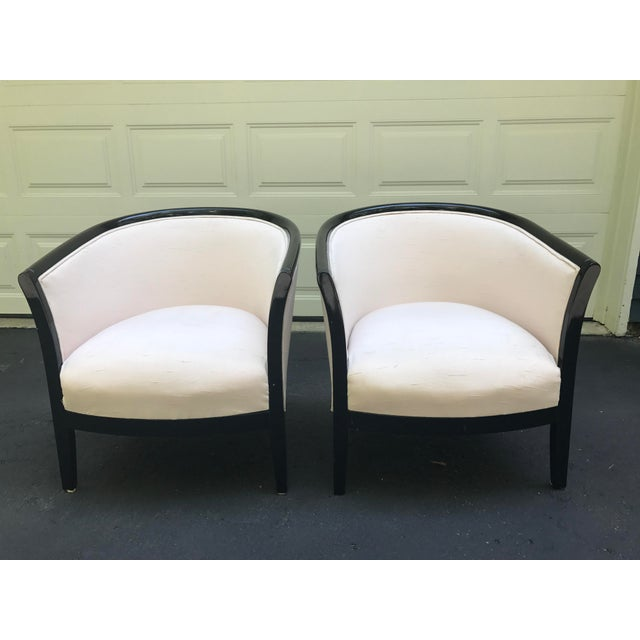 Blush Club Chairs With Black Lacquer Frame - Ward Bennett Style - a Pair - Image 2 of 10