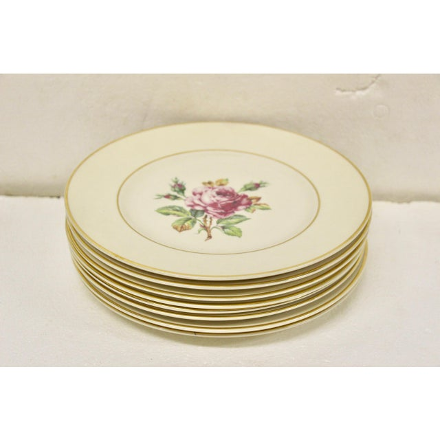 1930s Garden Rose China Plates, S/8 For Sale - Image 5 of 8
