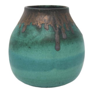 Teal Vase With Brown Rim, Signed For Sale