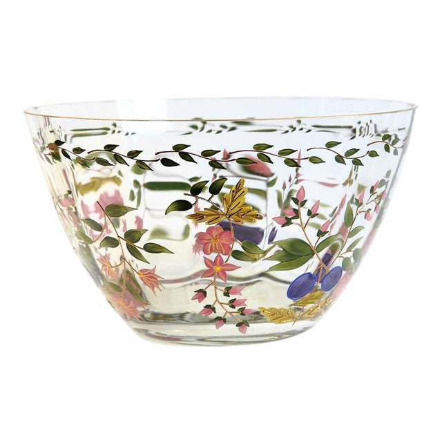 Vintage Hand Painted Glass Bowl - Image 1 of 8