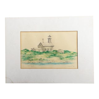 "Vintage 1987 Original ""North Light"" Coastal Drawing by Huggins For Sale"