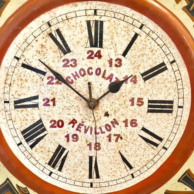 Vintage Tolework Chocolate Revillon Clock For Sale - Image 6 of 10