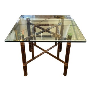 McGuire Table Base With Beveled Glass Top For Sale