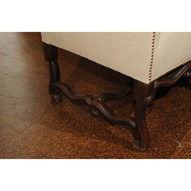 High Back Sofa with Carved Walnut Base For Sale - Image 9 of 9