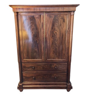 19th Century English Regency Mahogany Linen Press For Sale
