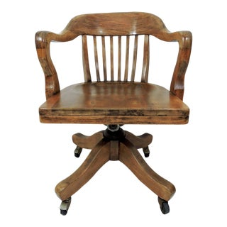 20th Century Americana 'Bending & Co.' Walnut Office/Bankers Chair For Sale