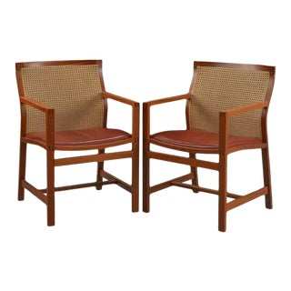 1980s Rud Thygesen and Johnny Sorensen King Series Mahogany Armchairs - a Pair For Sale