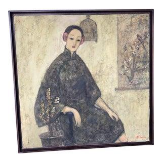 """Contemporary """"Jeune Fille au Tableau"""" Painting For Sale"""