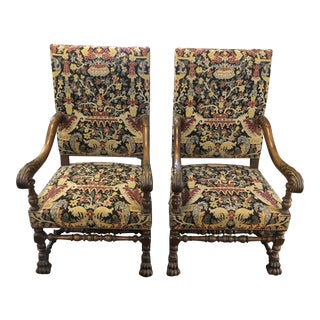 High Back Carved French Chairs - a Pair For Sale