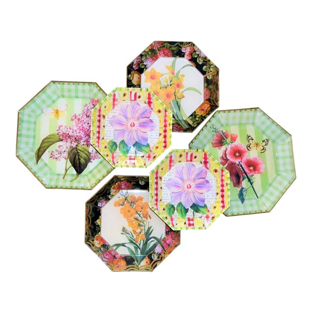 Botanical & Butterfly Decoupage Plates - Set of 6 For Sale