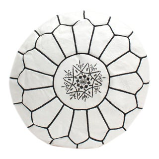 Modern Moroccan White and Black Pouf For Sale