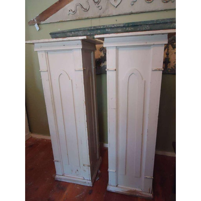 Country Gothic Architectural Pedestals From a Church - A Pair For Sale - Image 3 of 10