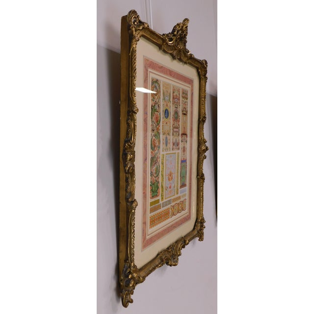 Metal Rococo Gilt Framed Pair of Prints Showing Samples of Decorative Wallpaper Borders For Sale - Image 7 of 13