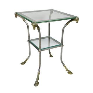 Directoire Style Steel and Brass Side Table For Sale