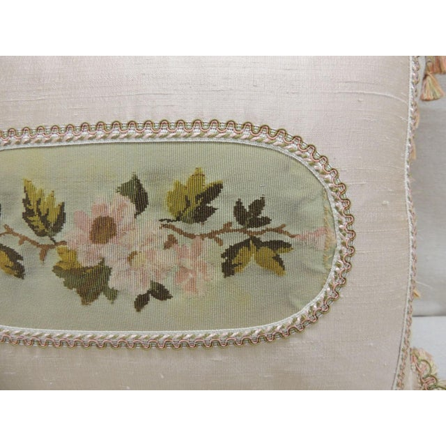 Antique Aubusson Center Tapestry Decorative Pillow Decorative bolster cushion with small green and pink gimp and orange...