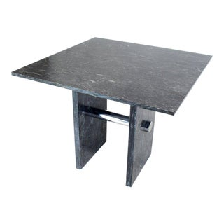1970s Mid-Century Modern Black Square Marble Top Dining Table For Sale
