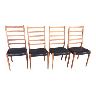 Mid Century Modern Rosewood Danish Dining Chairs - Set 4 For Sale