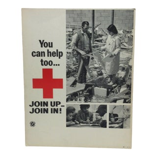 "1950 Vintage ""You Can Help Too ... Natural Disaster - Join Up - Join In"" Red Cross Sign For Sale"