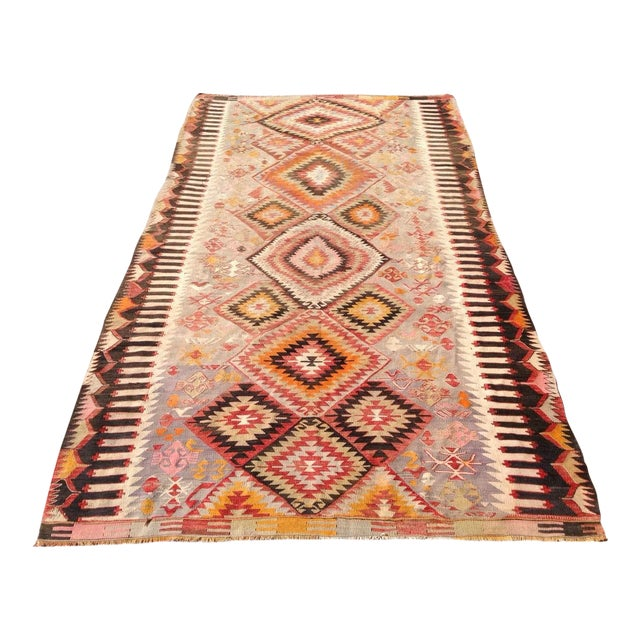 "Vintage Turkish Kilim Rug - 5'5"" X 9'11"" - Image 1 of 6"