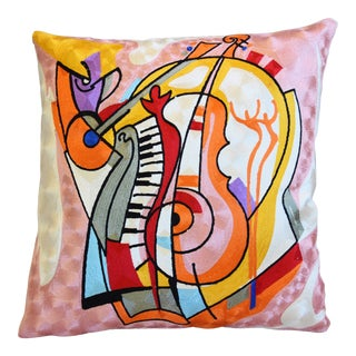 "Silk Crewel Pablo Picasso Design Feather/Down Pillow 18"" Square For Sale"