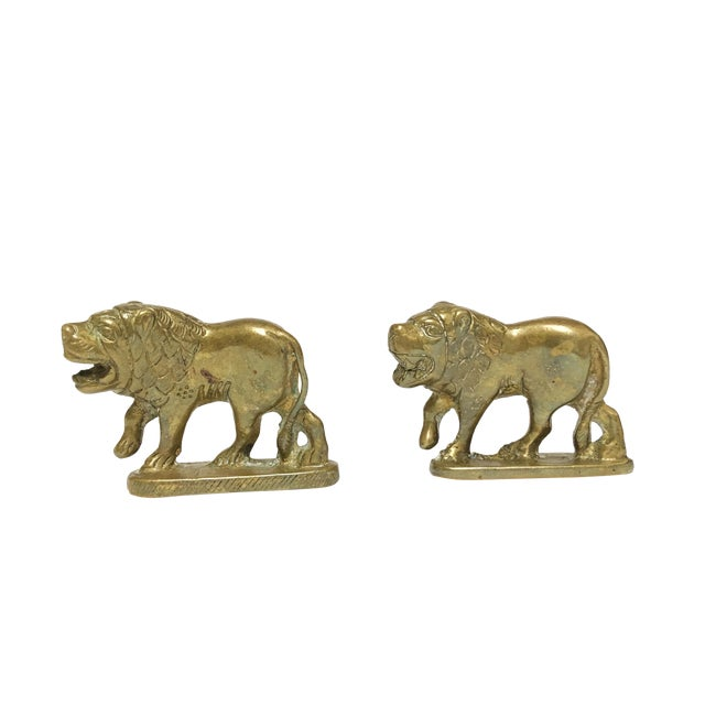 1960s Vintage Solid Brass Lion Figurine- a Pair For Sale